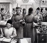 A busy scene in a 15th century Medici bank
