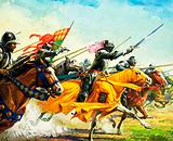 Bartolomeo Colleoni leading his men into battle