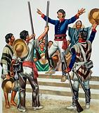 Mob gathered outside Agustin de Iturbide's house demanding that he make himself emperor of Mexico, 1822