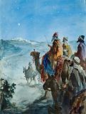 The Three Wise Men following the star to the birthplace of Jesus Christ in Bethlehem
