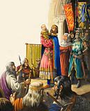 King Edward presents his baby son to the Welsh chieftains