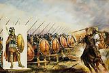 Spartan army on the battlefield, ancient Greece