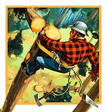 Lumberjack at work high up in a tree