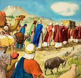 Moses and the Jews in the wilderness, carrying the Ark of the Covenant