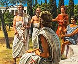 Ancient Greek philosopher Plato teaching his students in the Academia, Athens, 4th Century BC