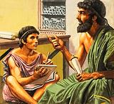 Writing lesson in ancient Athens