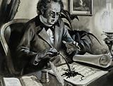 Schubert accidentally pouring ink over his score of the song, The Trout