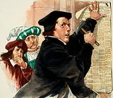 Martin Luther nailing his Ninety-Five Theses to the door of Wittenberg Church, Germany, 1517