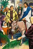 Jesus Christ riding into Jerusalem on Palm Sunday