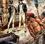 Nelson on board HMS Victory at the battle of Trafalgar, 1805