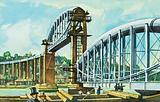 The first truss is raised on the Royal Albert Bridge at Saltash