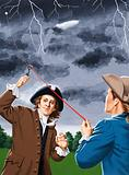 Benjamin Franklin experimenting with lightning