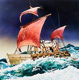 Kon-Tiki on its epic voyage
