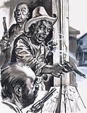 Ruffian Cowboys Shooting from Window