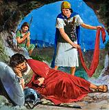 David cutting a corner off the robe of the sleeping King Saul
