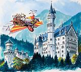 Chitty Chitty Bang Bang flying by Neuschwanstein Castle in the Bavarian Alps, Germany