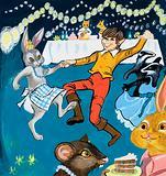 Boy and rabbit dancing