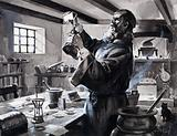 Roger Bacon, English monk, scientist and alchemist, making gunpowder