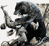 American frontiersman and fur trapper Hugh Glass being savaged by a bear, 1823