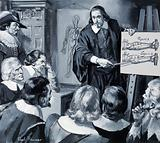 English physician William Harvey giving a lecture on the circulation of blood in the human body