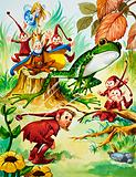 Frog with elves