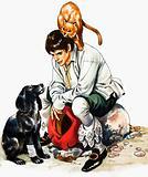 Dick Whittington (?) plus cat and dog