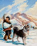 Arctic dog with a young Eskimo