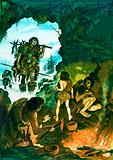 Prehistoric cavemen returning with food at the end of a day
