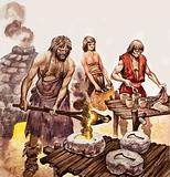 Bronze Age men pouring molten bronze into moulds to make axe heads