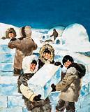 Eskimo Boys building an igloo
