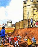 Unidentified scene of men digging moat around castle