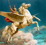 Bellerophon riding Pegasus, winged horse of Greek mythology