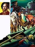 Onlooker watches as one of the Borgias has a body thrown into the River Tiber. Inset, Caesare Borgia