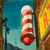 Barber's pole, traditional sign outside a barber's shop