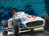 Juan Manuel Fangio driving a Mercedes-Benz racing car, 1950s