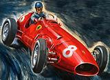 Alberto Ascari driving a Ferrari racing car, 1950s