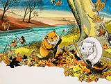 Unidentified scene of mice sweeping autumn leaves