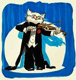 Cat in tuxedo playing a violin