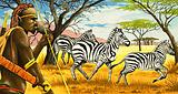 Tribesman and zebras