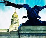 The giant sculpted condor that faces the parliament building in Buenos Aires