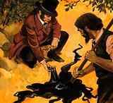 Edwardian gentleman discovering oil