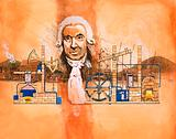James Watt with kilns and mechanical pumps in background