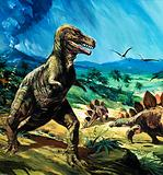 Unidentified dinosaur scene with T-Rex and Stegasaurus