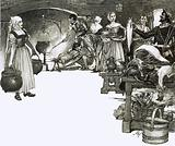 Cooking over an open fire in an Elizabethan kitchen
