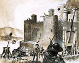 Unidentified siege of a castle using a trebuchet