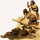 A Stone Age family scrape skins to make clothing