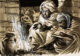Shepherds of Bethlehem huddle over fire