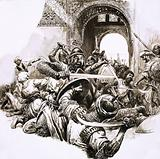 The medieval Moorish stronghold of Majorca under attack