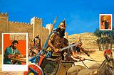 King Hammurabi goes to war, his chariot drawn by asses of a particularly tough breed