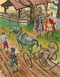 A farmer showing off his labourers using the new drilling machine invented by Jethro Tull
